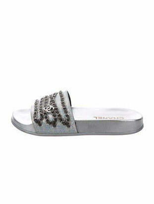 Chanel Tropiconic Chain-Link Accent Slides Silver