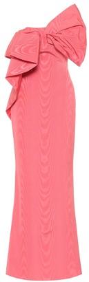 Oscar de la Renta One-shoulder moire faille gown