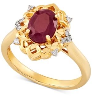 Macy's Certified Ruby (1-5/8 ct. t.w.) & Diamond (1/20 ct. t.w.) Ring in 14k Gold