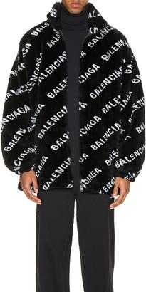 Balenciaga Faux Fur Zip-Up Jacket in Black & White | FWRD
