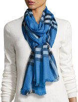Burberry Gauze Giant Check Scarf, Blue