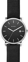 Skagen Hagen Stainless Steel & Black Leather 3-Hand Analog Watch with Date
