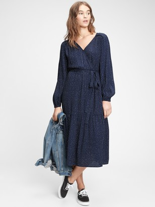 Gap Wrap-Front Midi Dress