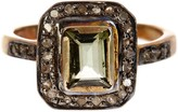 Gold Plated Sterling Silver Diamond & Green Tourmaline Ring