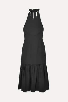 Rebecca Vallance Holliday Bow-detailed Lyocell And Linen-blend Halterneck Dress - Black