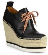 See by Chloe Glyn Leather Lace-Up Espadrille Wedge Booties