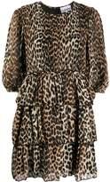 Ganni Leopard Print Tiered Dress