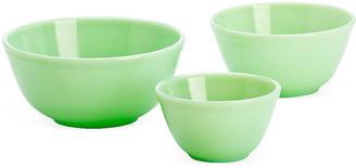 Mosser Glass Asst. of 3 Mixing Bowls - Jadeite green