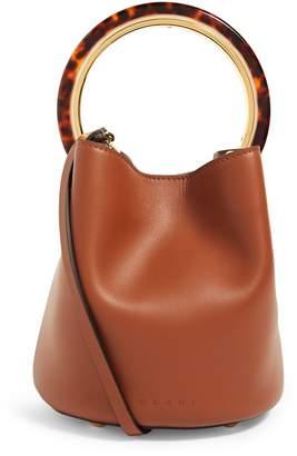 Marni Small Leather Pannier Bucket Bag