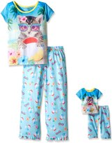 Komar Kids Big Girls 2 Piece Sleepwear Set with Matching 18 Inch Doll Set Cat