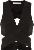 Dion Lee Cropped Cutout Stretch-ponte Top - Black