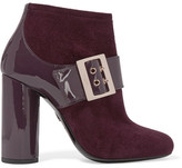 Lanvin Buckled Suede And Patent-leather Ankle Boots - Grape