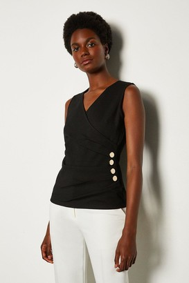 Karen Millen Pleat Detail Hardware Ponte Top