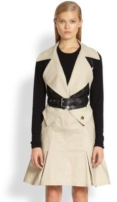 McQ Leather-Paneled Trench Vest