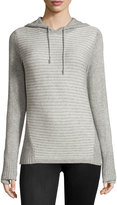 Neiman Marcus Striped Hooded Sweater, Gray/White
