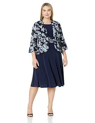 Jessica Howard Plus Size Womens Bell Sleeve Jacket Dress with Inset Waist
