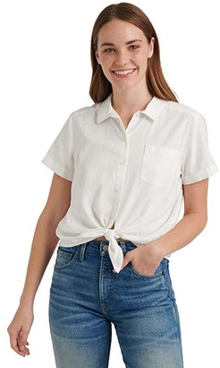 Lucky Brand Short Sleeve Button-Up One-Pocket Tie Front Shirt (Lucky White) Women's Clothing