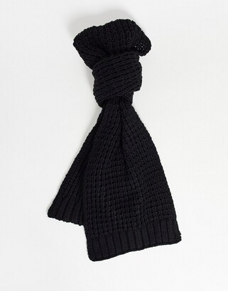 ASOS DESIGN knitted scarf in black