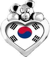 GiftJewelryShop Korea,Republic OF flag Red Siam Crystal January Birthstone I Love You Heart Care Bear Charm Bracelets
