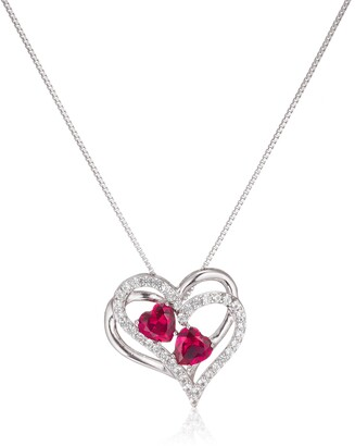 """Amazon Collection Sterling Silver Created Ruby and White Sapphire Double Heart Pendant Necklace 18"""""""