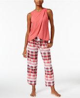 Lucky Brand Overlapped Top & Printed Cotton Pants Pajama Set
