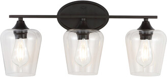 Jonathan Y Designs Jayne 23In 3-Light Iron/Seeded Glass Cottage Rustic Led Vanity Light
