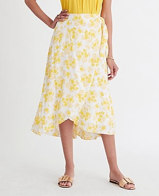 Ann Taylor Citrus Blossom Wrap Skirt