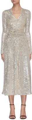 Rotate by Birger Christensen Sierra' V-neck Ruched Front Sequin Midi Dress