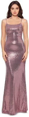 Betsy & Adam Metallic-Sequin Gown
