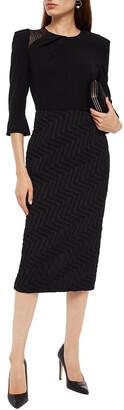 Roland Mouret Palatine Jacquard-paneled Crocheted Lace-trimmed Crepe Midi Dress