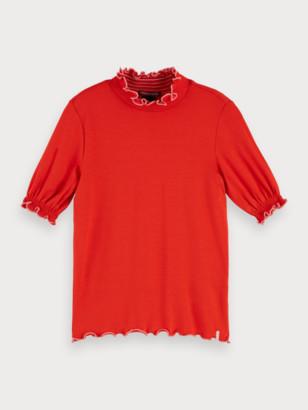 Scotch & Soda Ruffle hem short sleeve turtleneck t-shirt | Girls