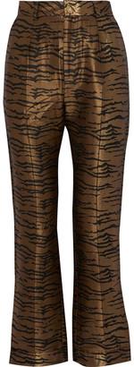De La Vali Tiger Lily Jacquard Flared Pants