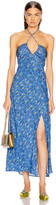 Rixo Caroline Dress in Klimt Eye Wave Blue & Gold | FWRD
