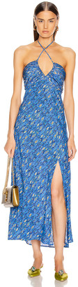 Rixo Caroline Dress in Klimt Eye Wave Blue & Gold | FWRD