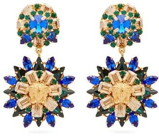 Versace Crystal-embellished Floral Drop Earrings - Womens - Blue