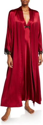 Christine Lingerie Bijou Lace-Trim Long Robe