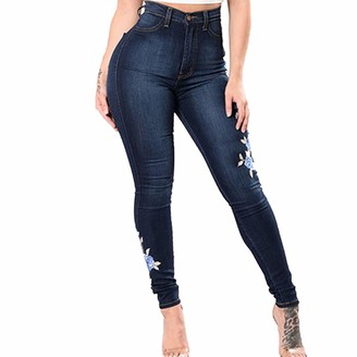 Canifon Women Casual Loose Elastic Small Feet Jeans Button Tassel Denim Pants