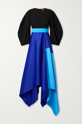 SOLACE London Quinn Asymmetric Color-block Crepe And Duchesse-satin Gown - Cobalt blue