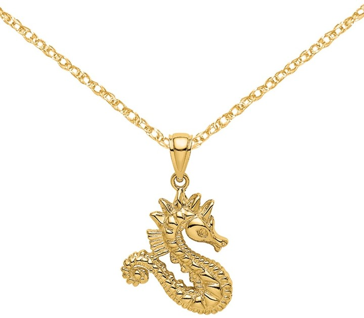 925 Sterling Silver Nautical Necklace Charm Pendant with Chain with 18 Inch Chain Yellow Enamel 3-D Seahorse
