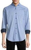 Bogosse Plaid Long-Sleeve Sport Shirt, Blue Pattern