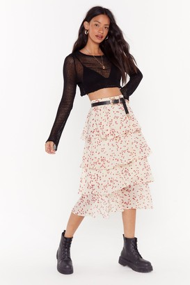 Nasty Gal Womens Calling All Hearts Tiered Midi Skirt - white - L