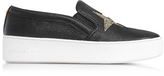 Michael Kors Black Tumbled Leather w/Golden Glitter Stars Pia Slip on Sneakers