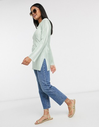 ASOS DESIGN long sleeve plisse top with side splits in sage green