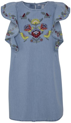 Pepe Jeans Cotton Embroidered Dress with Ruffled Sleeves, 8-16 Years