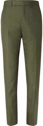 Kingsman Green Slim-Fit Cotton-Twill Suit Trousers