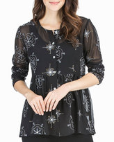 Joan Vass Long-Sleeve Button-Front Embroidered Top, Black