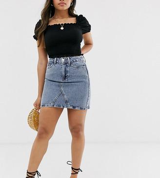 New Look Petite denim mom skirt in acid blue