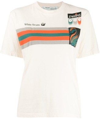 Off-White Off White 'White Swan' patchwork T-shirt