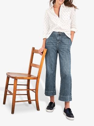 White Stuff Thea Wide Leg Cropped Jeans, Mid Denim