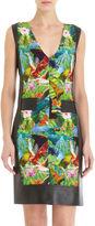 Tropical Bird Print V- Neck Dress